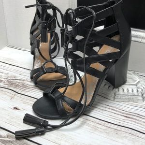 NWT Sexy Black Lace Up Heel Sandal with Tassels